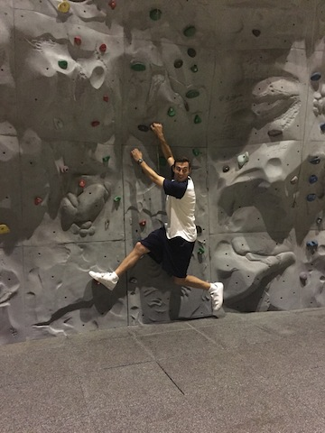 Hanging out on the rock climbing wall
